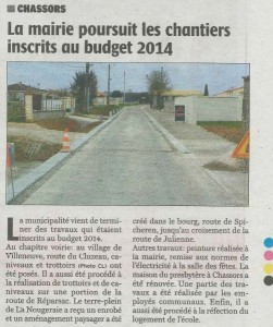 Article Charente Libre du 27/03/2015